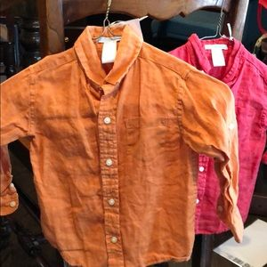 Janie and Jack 2T & 3 linen shirts